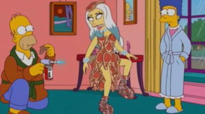 Immagine dall'episodio dei Simpson con Lady Gaga