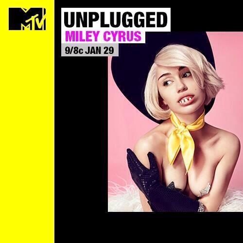 Miley Cyrus appare nella copertina dell'Unplugged di MTV dedicato a lei previsto per il 29 gennaio 2014