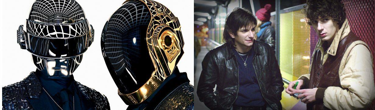 I Daft Punk e gli  attori che li hanno interpretati nel film Eden