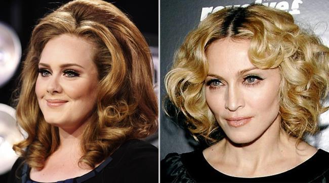 Madonna ed Adele in una foto dove sono rappresentati i loro visi una di fianco all'altra