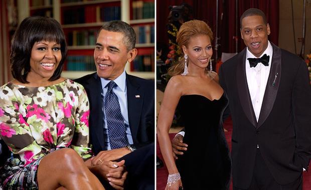 Barack Obama con la moglie Michelle e Beyoncé con il marito Jay-Z
