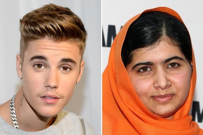 Justin Bieber e l'attivista pakistana Malala Yousafzai
