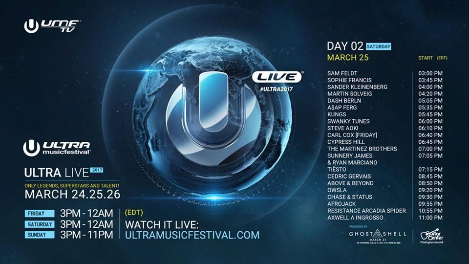 Timetable Streaming Ultra Music Festival 2017