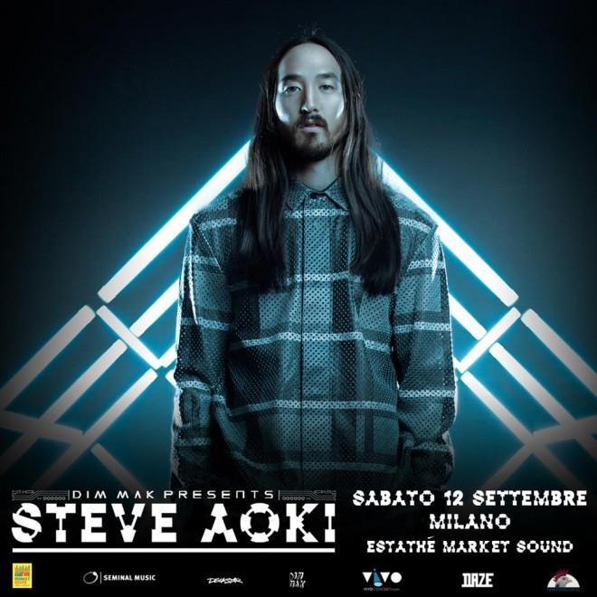 Locandina di Steve Aoki all'Estathé Market Sound di Milano