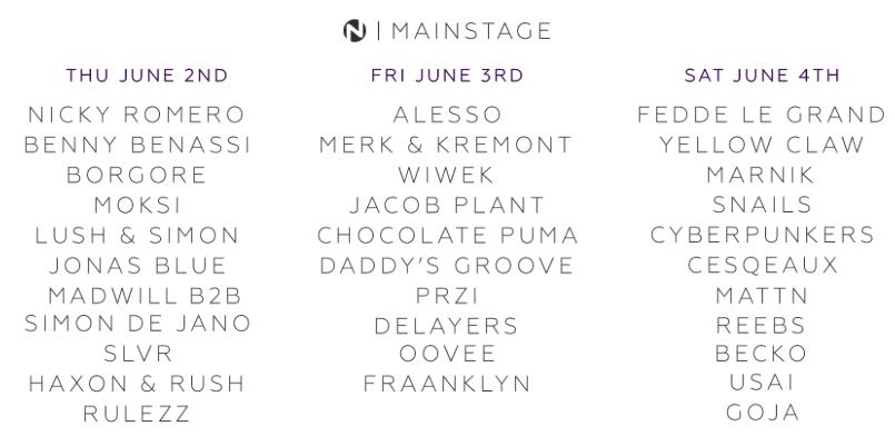 Nameless Music Festival 2016 - Mainstage Line Up