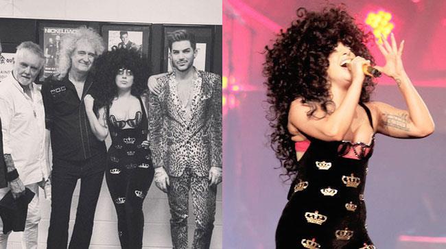 Lady Gaga con i Queen e durante l'esibizione dal vivo