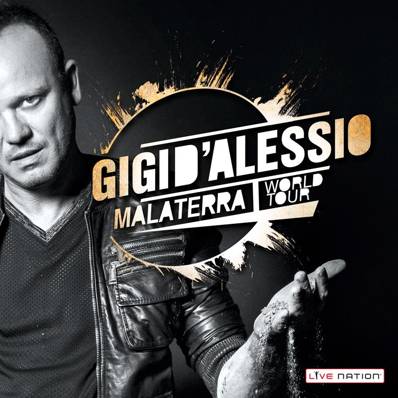 Gigi D'Alessio su manifesto del Malaterra World Tour, nel 2016 anche in Italia