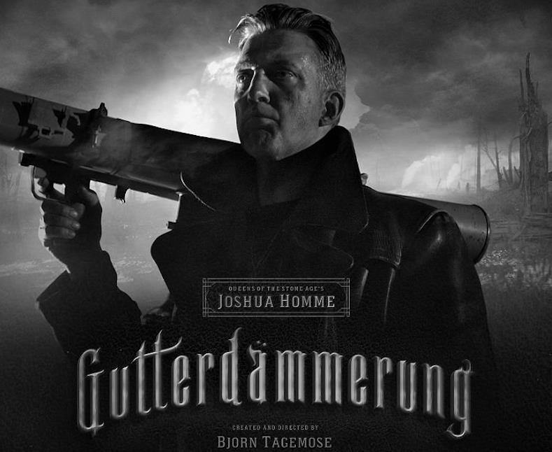 Joshua Homme nella copertina del film muto Gutterdämmerung con in mano il suo