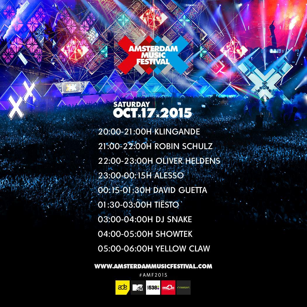 Amsterdam Music Festival Lineup 17.10.2015