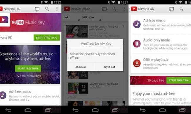 La schermata di YouTube Music Key