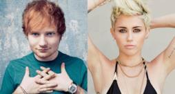 Primo piano di Ed Sheeran e Miley Cyrus