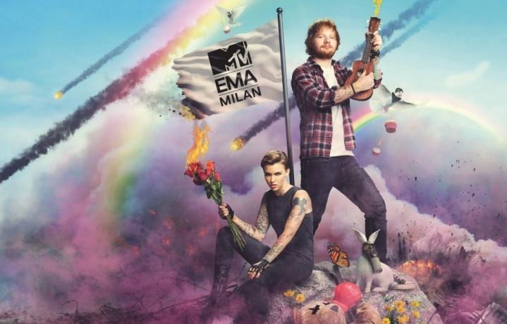 Ed Sheeran e Ruby Rose insieme agli MTV EMA 2015 di Milano