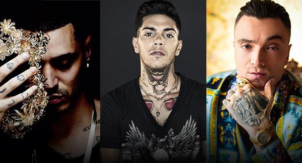 I rapper Marracash, Emis Killa e Guè Pequeno