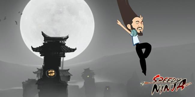 Caricatura di Steve Aoki che sarà un ninja in un videogioco per cellulari