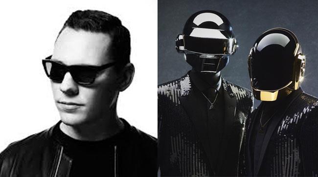 Primo piano di Tiesto e dei Daft Punk con le loro maschere