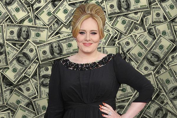 Adele con sfondo pieno di soldi