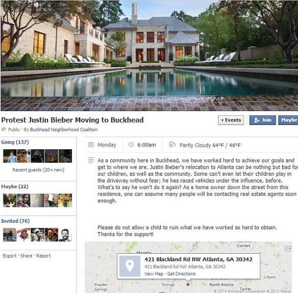Screensht della protesta apparsa su Facebook dei cittadini di Atlanta contro Justin Bieber
