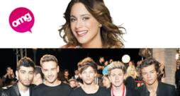 Primo piano di Martina Stoessel e dei componenti dei One Direction