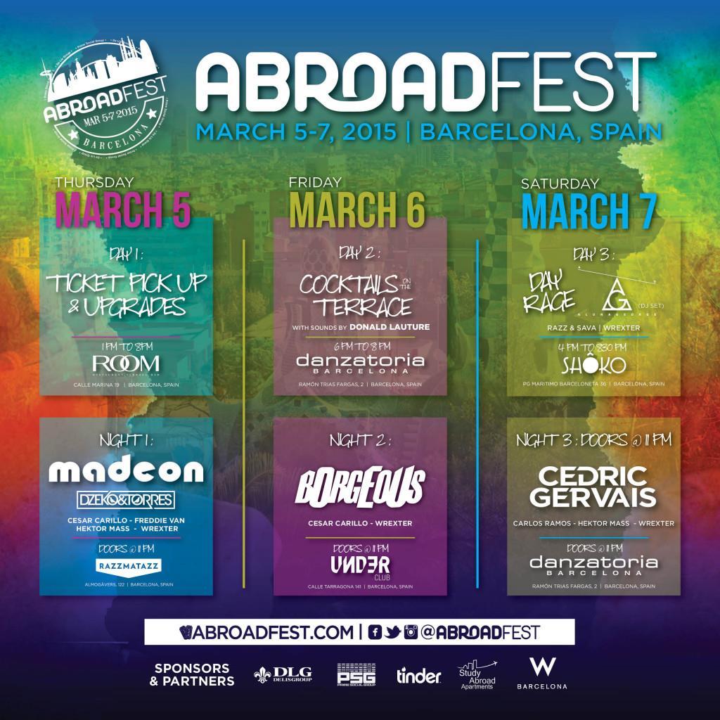 La locandina dell'AbroadFest, l'evento itinerante a Barcelona