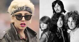 Accostamento di Lady Gaga con occhiali da sole e bandana e i Led Zeppelin