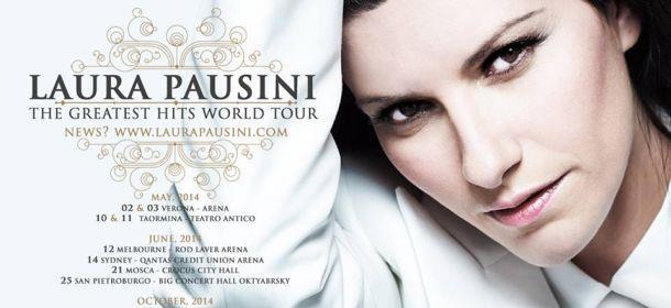 Locandina con le date del tour di Laura Pausini