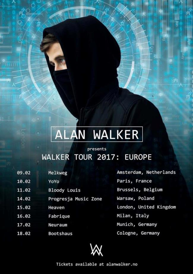 Tour Europa 2017 Alan Walker