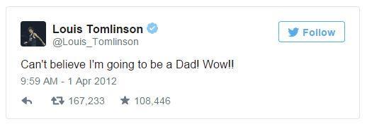 Louis Tomlinson scrive per scherzo su Twitter che diventerà padre