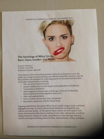 Programma corso universitario su Miley Cyrus