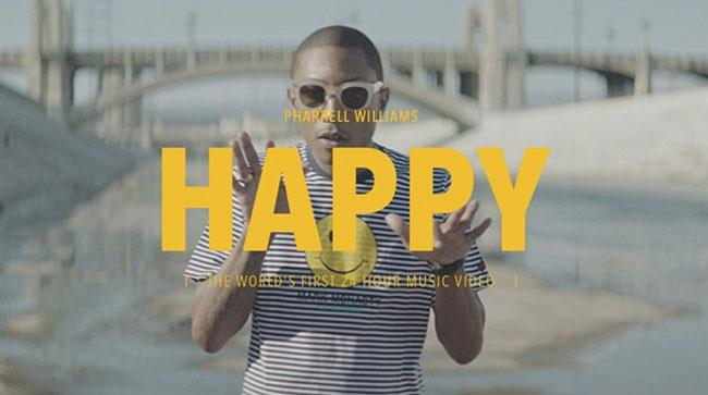 Un fotogramma con Pharrell dal video di Happy