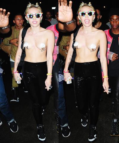 Miley Cyrus in topless alla New York Fashion Week
