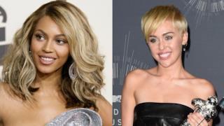 Primo piano di  Beyoncé e Miley Cyrus