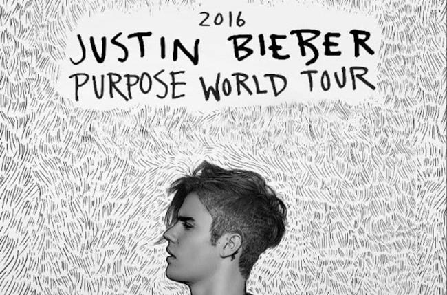 Justin Bieber sul poster del Purpose World Tour 2016