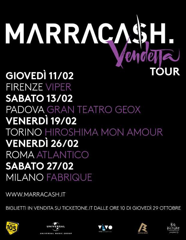 Marracash a Firenze, Padova, Torino, Roma e Milano per il Vendetta Tour