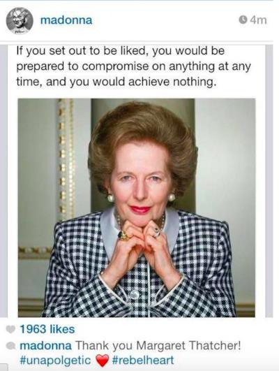 La foto di Margareth Thatcher pubblicata da Madonna su Instagram