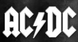 AC/DC logo bianco su sfondo nero