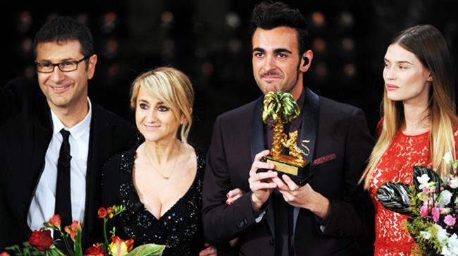 Fazio, Littizzetto, Mengoni e Balti sul palco per la premiazione finale del Festival di Sanremo 2013