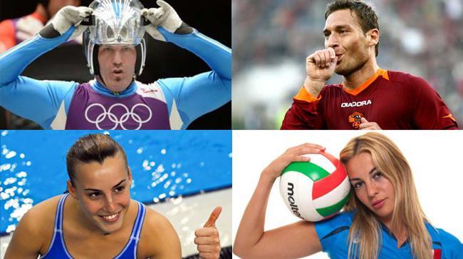 Veronica Angeloni, Tania Cagnotto, Armin Zoeggler e Francesco Totti