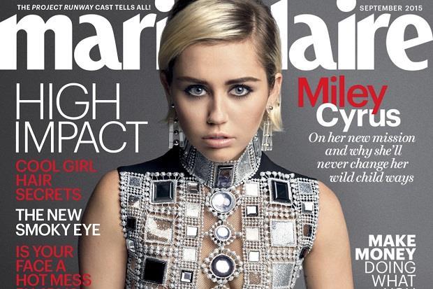 Miley Cyrus campeggia sulla copertina di Marie Claire settembre 2015