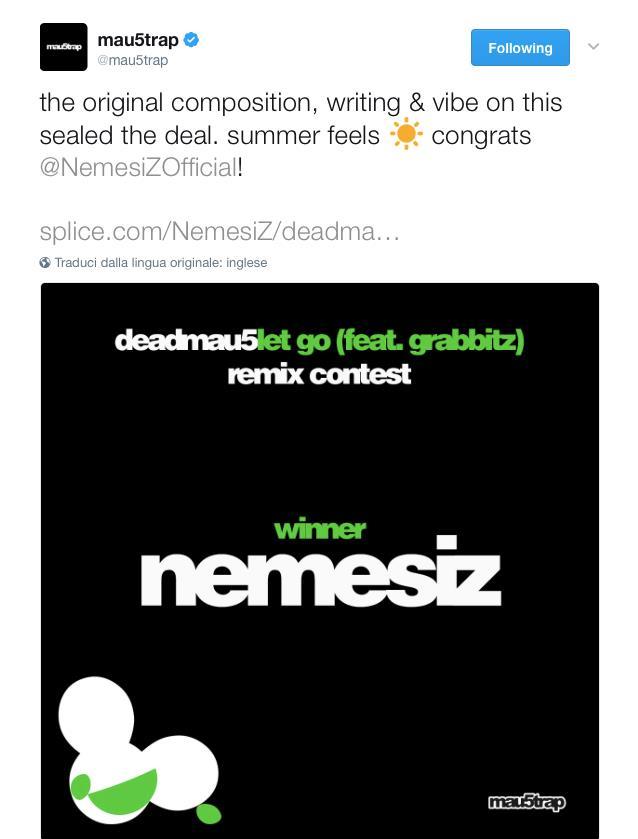 Il nome del vincitore del contest in un tweet