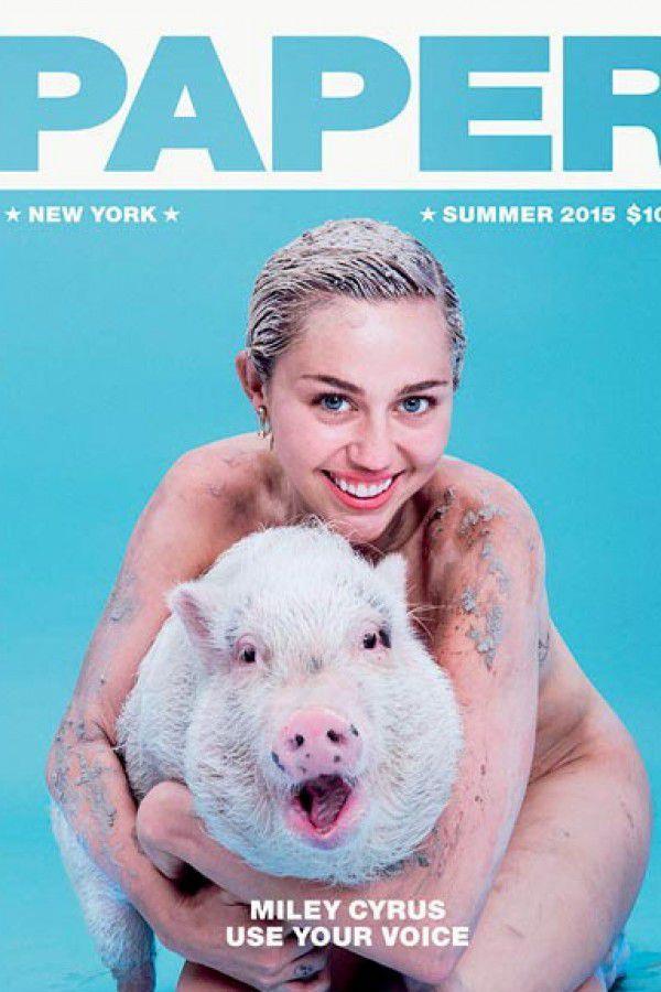 Miley Cyrus e la sua maialina Bubba Sue sulla cover di Paper Magazine (giugno 2015)
