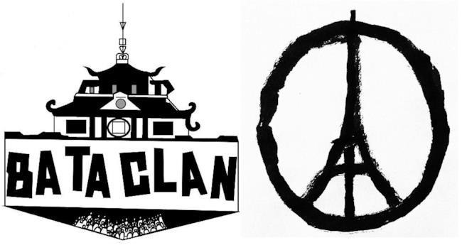 Le Bataclan e il simbolo della pace con la Tour Eiffel