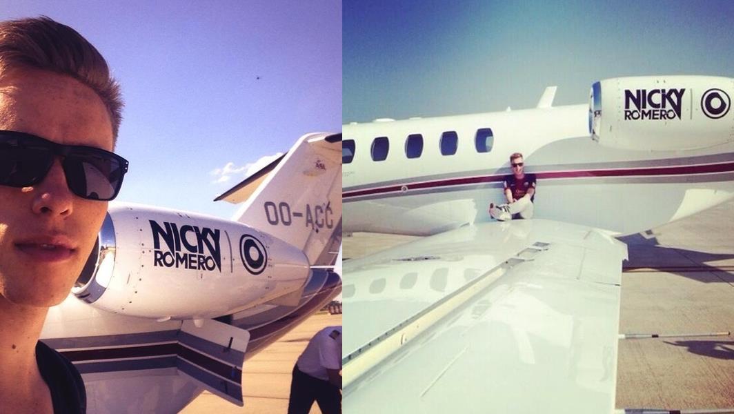 Il Jet Privato di Nickky Romero, protagonista in molti dei suoi Selfie