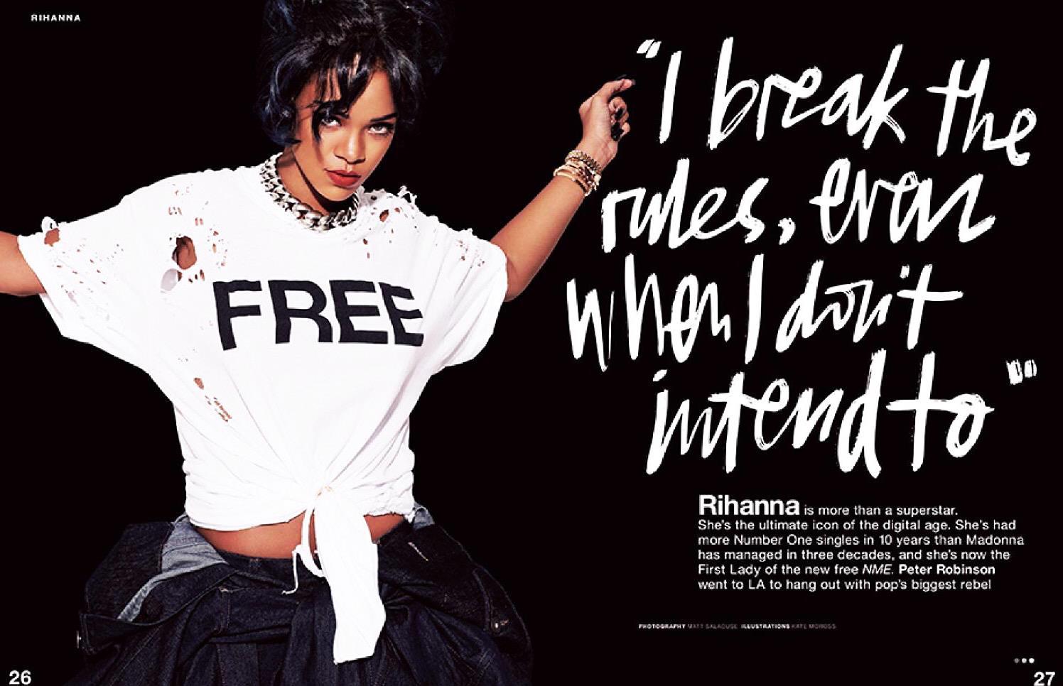 Rihanna intervistata da Peter Robinson sul nuovo NME in versione free press