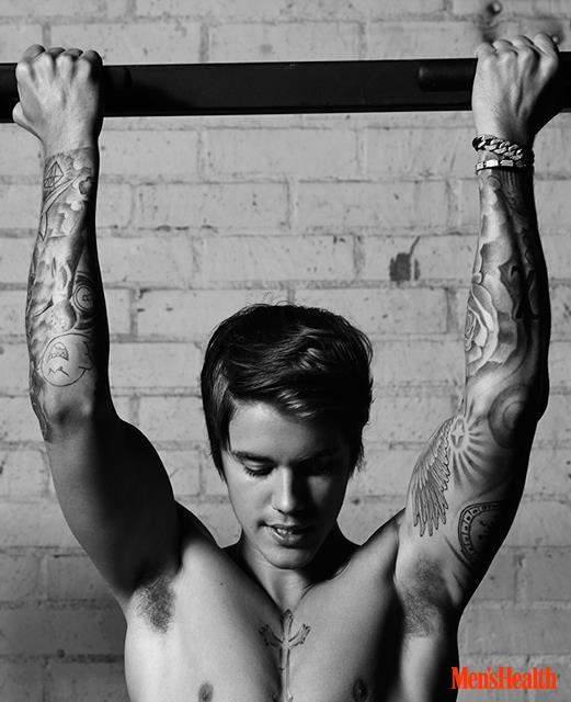 Justin Bieber si prapara a fare le trazioni su Men's Health