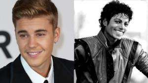 Accostamento del primo piano di Justin Bieber e Michael Jackson