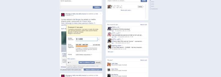 Facebook spinge verso l'utilizzo dei post promossi
