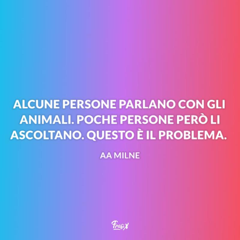 Immagine con citazione milne per aforismi sugli animali
