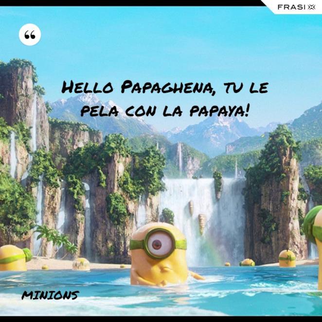 Immagine con frase dei Minions