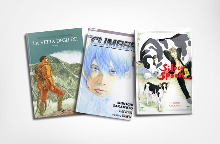 Cover di tre manga ambientati in montagna
