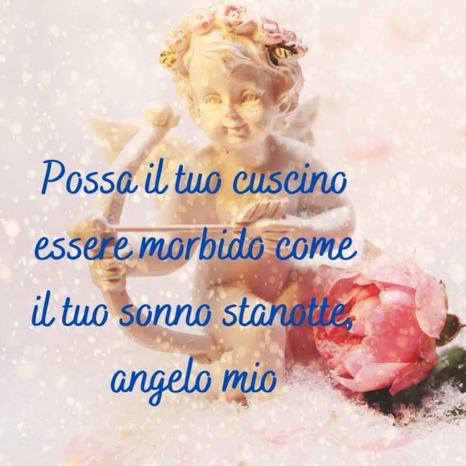 Immagine angelo con scritta per augurare la buonanotte